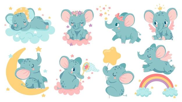 꿈꾸는 코끼리. 아기 코끼리는 구름과 달 위에서 잠을 자고, 별을 잡거나 무지개 위로 날아갑니다. 왕관과 날개 벡터 세트가 있는 마법의 동물 소녀. 머리에 활과 꽃이 달린 귀여운 캐릭터