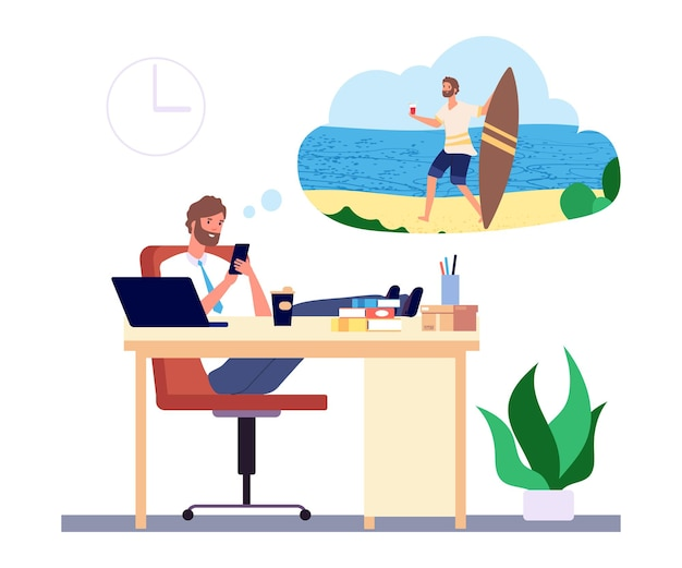 꿈꾸는 남자. 사무실 관리자는 해변 휴가 및 서핑 개념에 대한 꿈