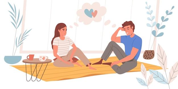 평면 디자인의 꿈꾸는 사람들 개념. 행복한 커플은 카펫에 앉아 꿈을 꾸고 아늑한 방에서 커피를 마시며 휴식을 취하고 있습니다. 상상력과 레크리에이션 사람들 장면. 벡터 일러스트 레이 션