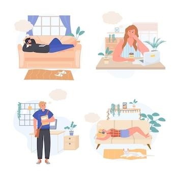 Сновидения людей концептуальные сцены набор векторных иллюстраций персонажей