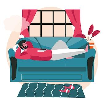 꿈꾸는 사람들이 장면 개념입니다. 남자는 그의 머리 위에 빈 거품을 꿈꾸며 소파에 누워 있습니다. 상상력, 휴식, 공상에 잠긴 사람들의 활동. 평면 디자인에 문자의 벡터 일러스트 레이 션