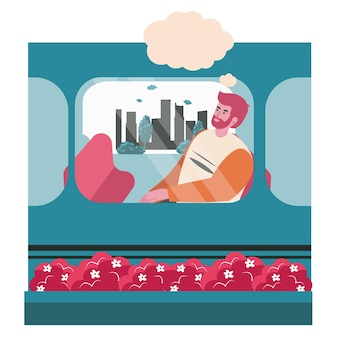 꿈꾸는 사람들이 장면 개념입니다. 남자는 기차 차에 앉아서 머리 위에 빈 거품과 함께 생각합니다. 상상력, 휴식, 공상에 잠긴 사람들의 활동. 평면 디자인에 문자의 벡터 일러스트 레이 션