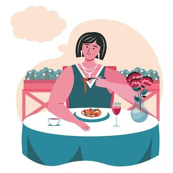 꿈꾸는 사람들이 장면 개념입니다. 여자는 레스토랑에서 식사를 하고 머리 위에 빈 거품을 얹고 생각합니다. 상상력, 휴식, 공상에 잠긴 사람들의 활동. 평면 디자인에 문자의 벡터 일러스트 레이 션