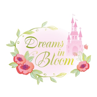 Dreams in bloom badge illustration with palace castle and fairytale princess design