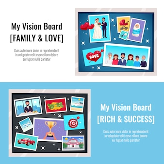 Dreams vision board horizontal banners set with success and love flat isolated vector illustration