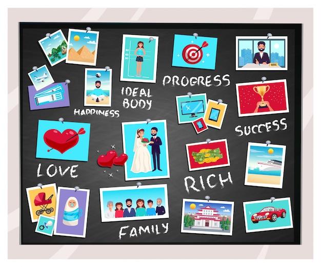 夢と成功と家族、フラット分離ベクトルイラストビジョン黒板