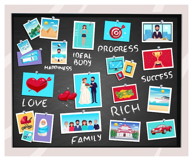 Dreams vision chalkboard with success and family, flat isolated vector illustration