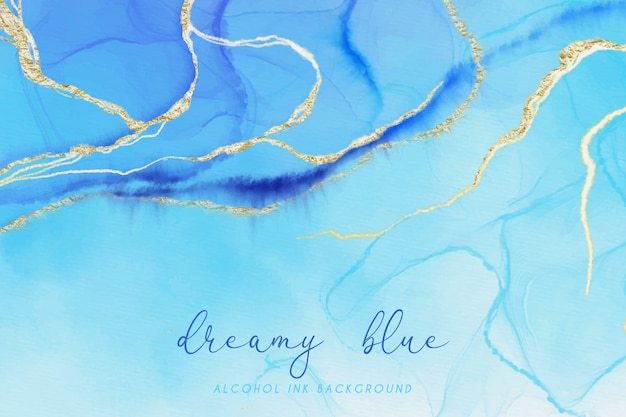 Dreamy blue and gold alcohol ink background