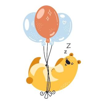 Мечтательный милый медведь, летящий на воздушном шаре, счастливые иллюстрации на белом фоне.