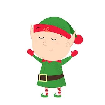 Dreamy cute elf raising hands