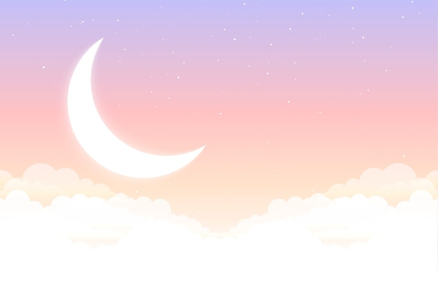 夢のようなおとぎ話の月の星と雲の美しい背景