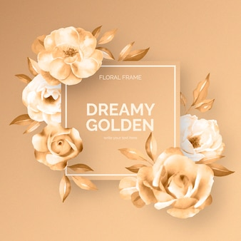 Dreamy golden floral frame