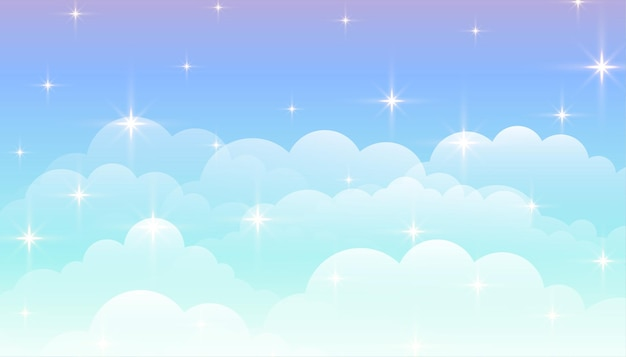 Dreamy magical clouds with stars