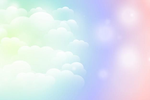 Мечтательный волшебный блестящий фон облаков в ярких цветах