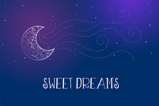 Dreamy magical sweet dreams card with decorative moon