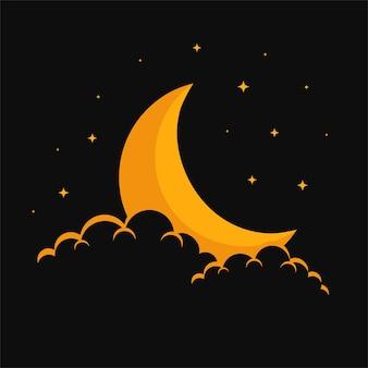 夢のような月の雲と星の背景デザイン