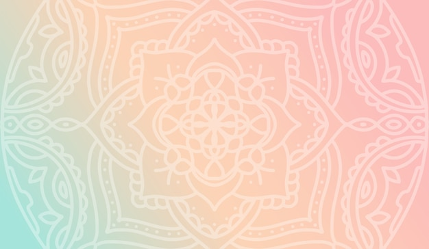 Dreamy peach pink gradient wallpaper with mandala pattern