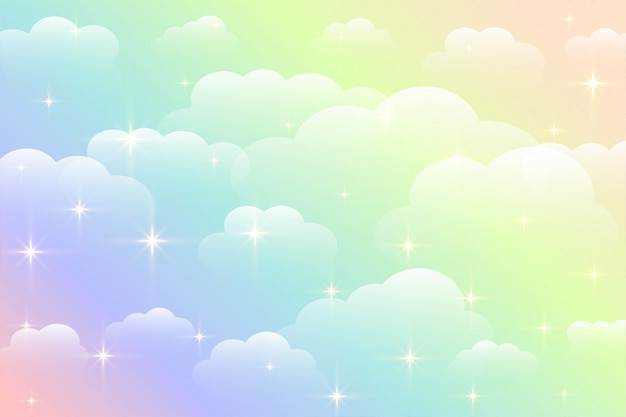 Dreamy rainbow color beautiful clouds background