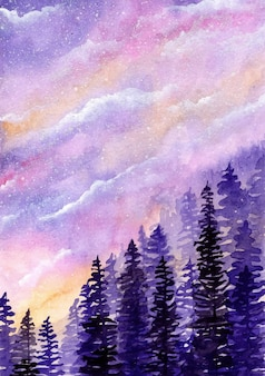 Dreamy sky with pine trees watercolor background