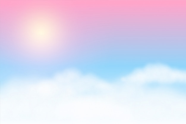 Dreamy soft clouds background with glowing sun