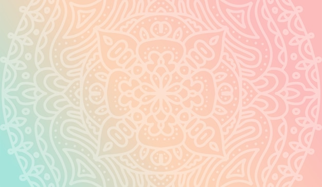 Dreamy tender gradient wallpaper with mandala pattern for yoga school