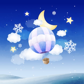 Dreamy watercolor hot air balloon on snowy night