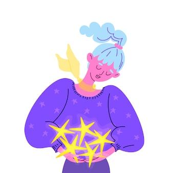 방대한 보라색 스웨터에 꿈꾸는 젊은 여자는 그녀의 손에 빛나는 별을 보유하고 있습니다.