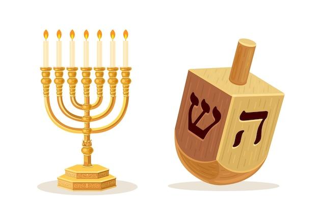 Dreidel and menorah yellow hanukkah candlestick symbol of a happy new year biblical candelabrum