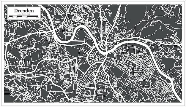 Карта города дрезден германия в стиле ретро. контурная карта. векторные иллюстрации.