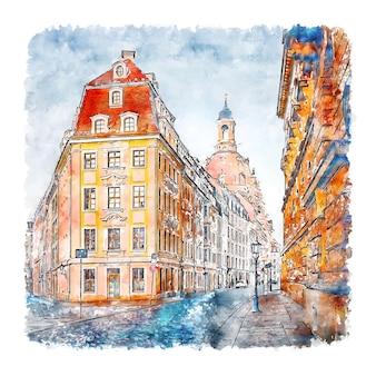 드레스덴 독일 수채화 손으로 그린 그림