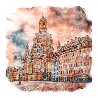 Дрезден германия акварельный эскиз рисованной иллюстрации