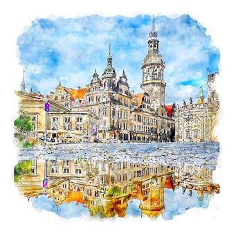 드레스덴 독일 수채화 스케치 손으로 그린 그림