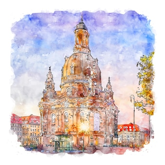 Dresden germany watercolor sketch hand drawn illustration