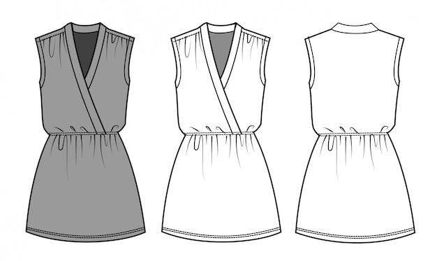 Шаблон эскиза плоской моды платья