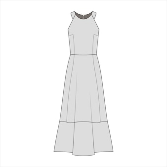 Dress fashion flat sketch template