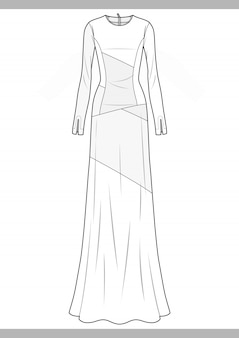 Dress fashion technical drawings vector template