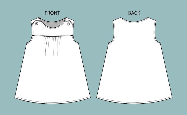 Платье для детей вид спереди и сзади платье девушки изолированное