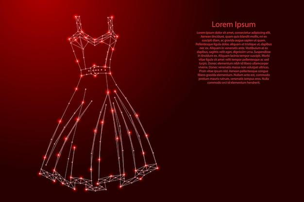 未来的な多角形の赤い線と輝く星からのドレス Premiumベクター