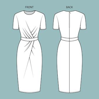 ドレスの正面図と背面図。ドレスファッションフラットスケッチテンプレート。