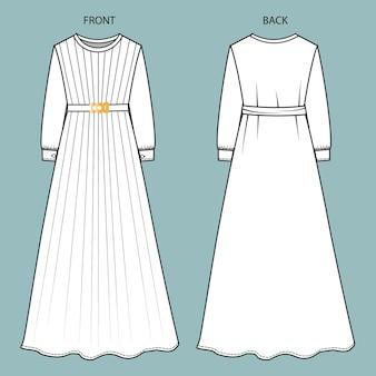 ドレスの正面図と背面図。ドレスファッションフラットテンプレート。