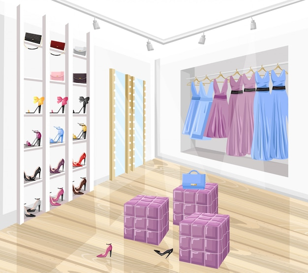 Dress and shoe store boutique flat style illustration
