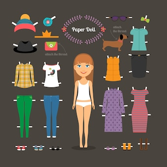 大きな頭で紙人形をドレスアップします。ズボンとドレス、靴と帽子、ファッション。ベクトルイラスト