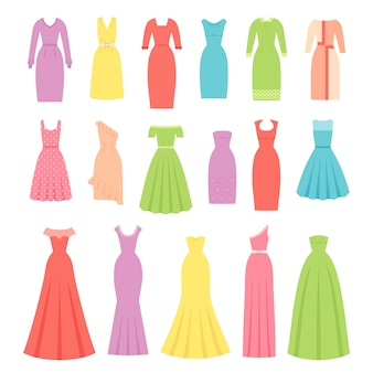 Dress for women,  evening, cocktail and business dresses, dress and garment set isolated,