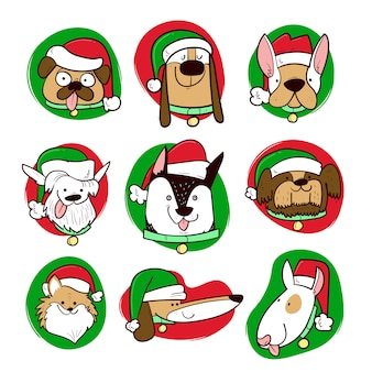 Dressed dogs at christmas season