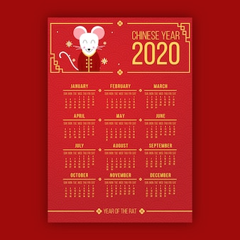 Dressed mouse on 2020 new year calendar