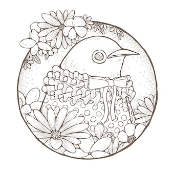 Dressed up cute bird coloring page in exquisite line style
