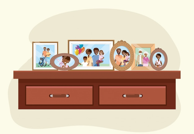 Dresser with family pictures memories decoration