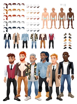 Dresses and hairstyles game with male avatars