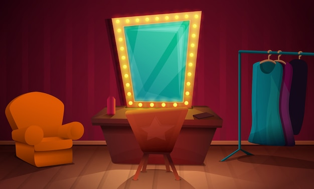 Dressing room artist with furniture and a mirror, illustration