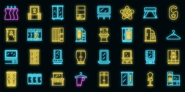Dressing room icons set. outline set of dressing room vector icons neon color on black